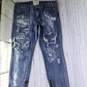 One Teaspoon Trashed Free Birds Skinny Jeans Sz 28
